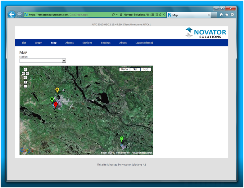 See the positions of your CatchR stations on a map with colour mapping for alarms and warnings